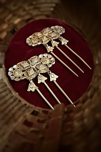 Gold Finish Zircon Hair Pins In Sterling Silver by Tarun Tahiliani