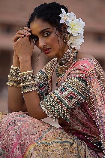 Gold Finish Pearl & Zircon Cuff In Sterling Silver by Tarun Tahiliani