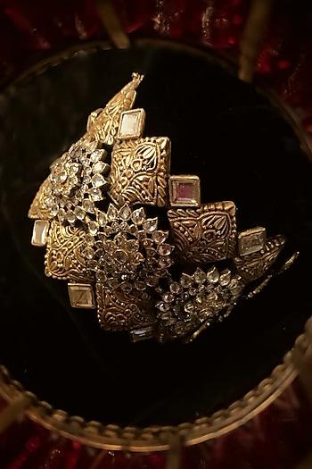 Gold Finish Freshwater Pearl & Zircon Cuff In Sterling Silver by Tarun Tahiliani