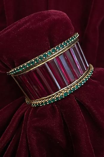 Gold Finish Zircon & Pearl Cuff In Sterling Silver by Tarun Tahiliani