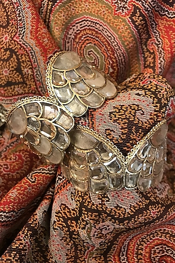 Gold Finish Zircon & Freshwater Pearl Cuff In Sterling Silver by Tarun Tahiliani