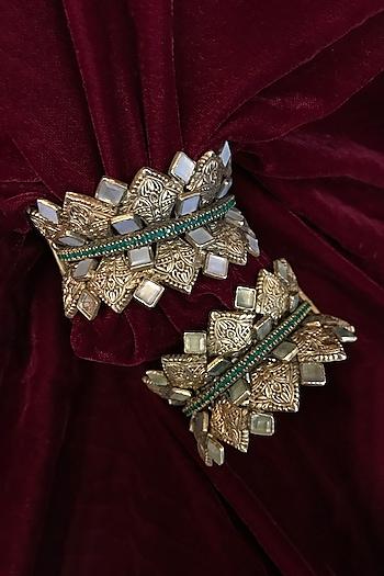 Gold Finish Pearl Cuff In Sterling Silver by Tarun Tahiliani