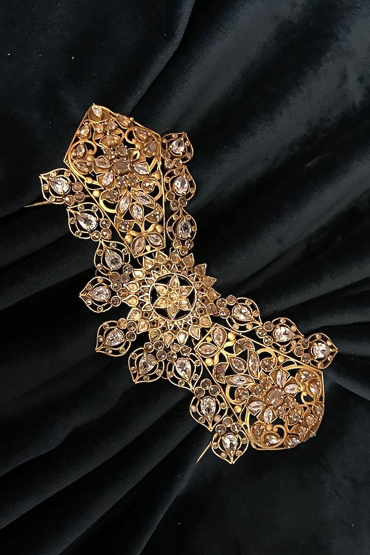 Gold Finish Juda Pin In Sterling Silver by Tarun Tahiliani