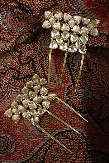 Gold Finish Zircon Juda Pin In Sterling Silver by Tarun Tahiliani