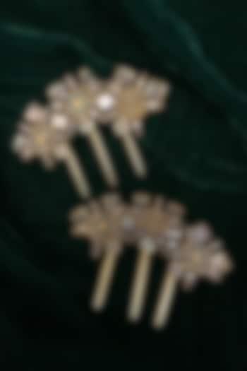 Gold Finish Kundan Polki Juda Pin In Sterling Silver by Tarun Tahiliani