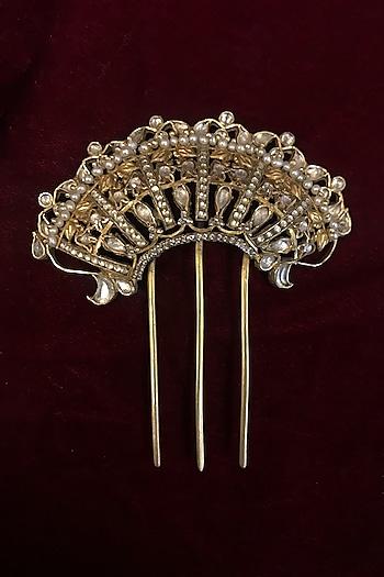 Gold Finish Juda Pin With Zircons by Tarun Tahiliani