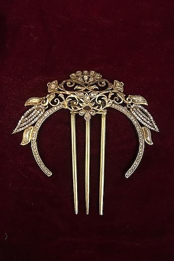 Gold Finish Zircon & Kundan Polki Juda Pin In Sterling Silver by Tarun Tahiliani
