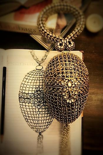 Gold Jewelled Bag In Sterling Silver by Tarun Tahiliani