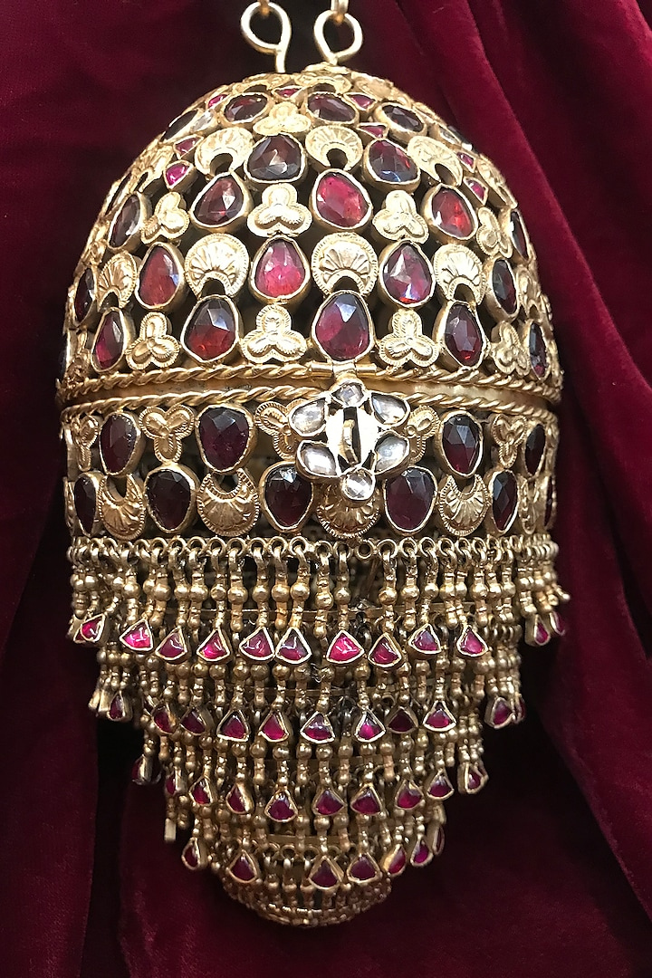 Gold Zircons Jewelled Bag In Sterling Silver by Tarun Tahiliani