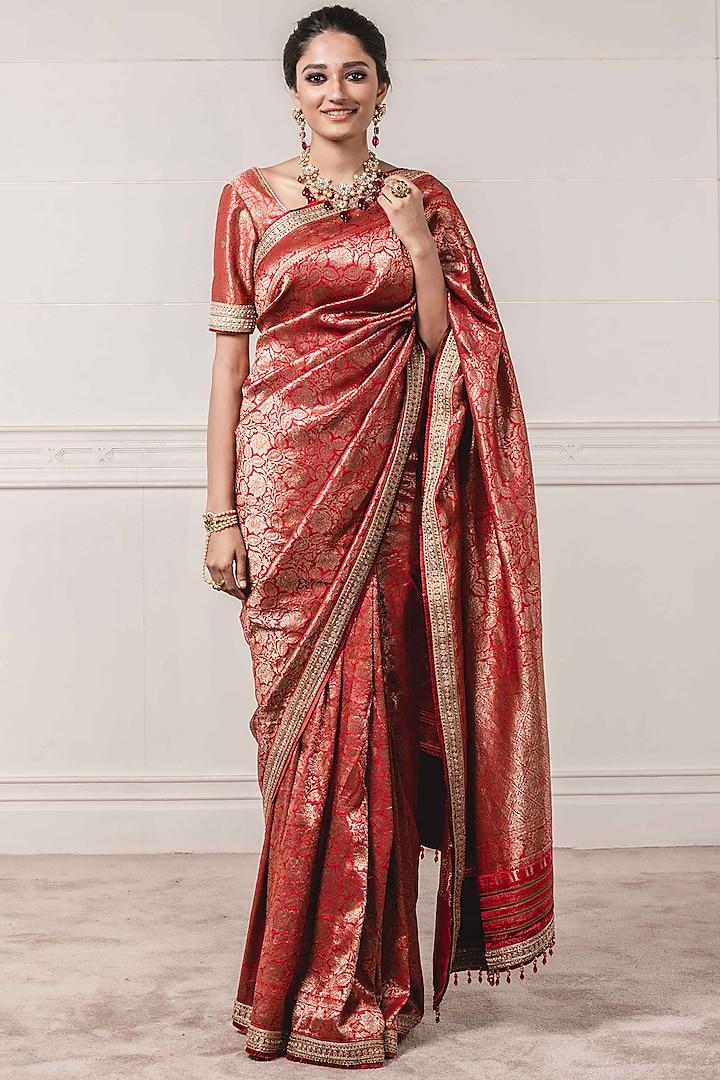 Multi Colored Silk Brocade Saree Set by Tarun Tahiliani