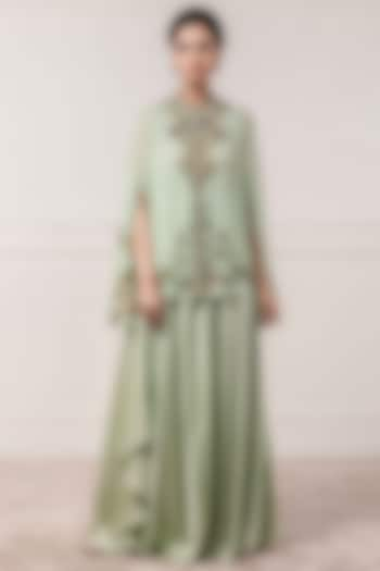 Mint Green Printed Cape With Trousers by Tarun Tahiliani