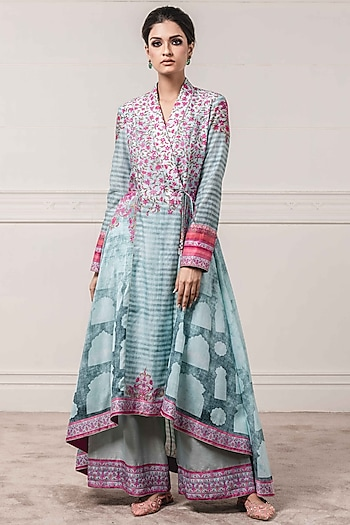 Blue Printed Jacket With Trousers by Tarun Tahiliani