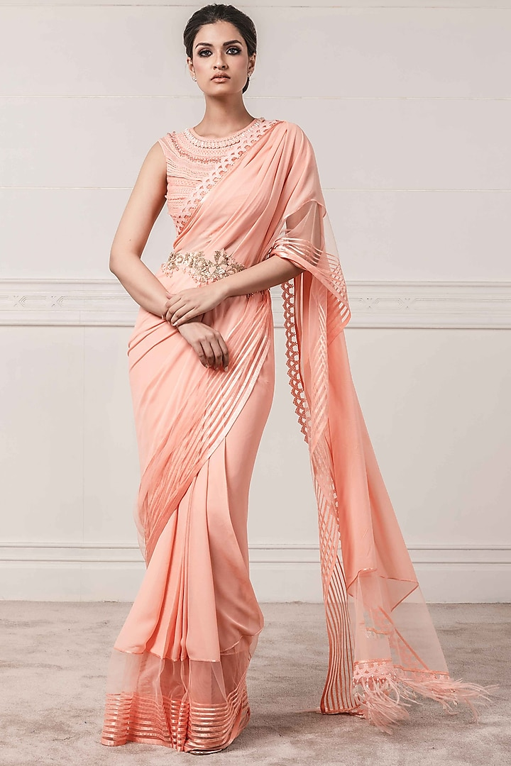 Peach Textured Saree Set With Belt by Tarun Tahiliani