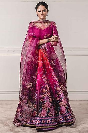Aubergine Purple Floral Printed Lehenga Set by Tarun Tahiliani