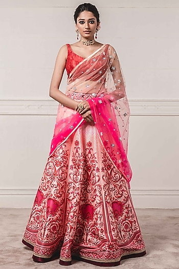 Pink Printed Lehenga Set by Tarun Tahiliani