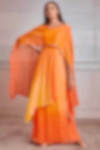 Orange & Yellow Shaded Kaftan by Tarun Tahiliani