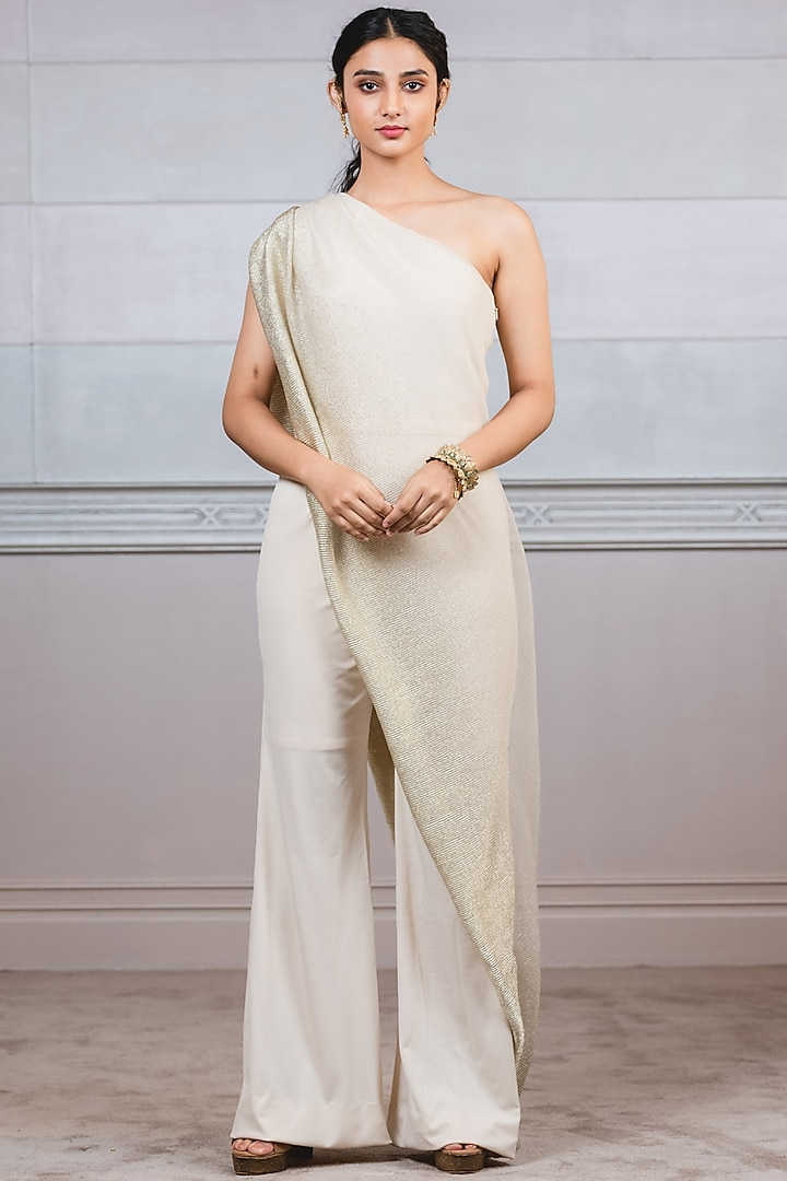 Beige Jumpsuit With Attached Drape by Tarun Tahiliani