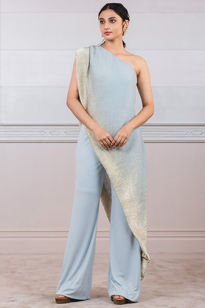 Powder Blue Jumpsuit With Attached Drape by Tarun Tahiliani