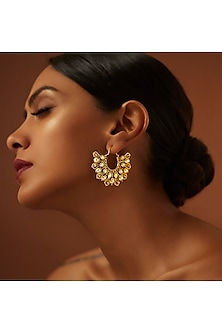 Gold Finish Crystal Hoop Earrings With Swarovski Crystals by Tarun Tahiliani X Confluence