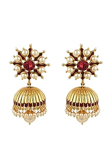 Gold Finish Maroon Stone Jhumka Earrings With Swarovski Crystals by Tarun Tahiliani X Confluence-JEWELLERY ON DISCOUNT