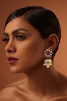 Gold Finish Maroon Stone Jhumka Earrings With Swarovski Crystals by Tarun Tahiliani X Confluence