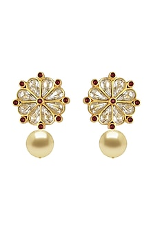 Gold Finish Pearl Drop Earrings With Swarovski Crystals by Tarun Tahiliani X Confluence