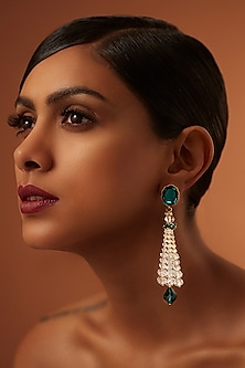 Gold Finish Emerald Tassel Earrings With Swarovski Crystals by Tarun Tahiliani X Confluence