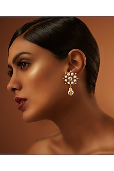 Gold Finish Drop Earrings With Swarovski Crystals by Tarun Tahiliani X Confluence