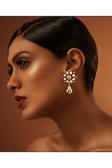 Gold Finish Drop Earrings With Swarovski Crystals by Tarun Tahiliani X Confluence
