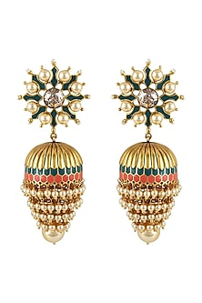 Gold Finish Emerald Earrings With Swarovski Crystals by Tarun Tahiliani X Confluence