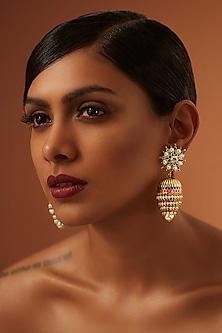 Gold Finish Emerald Earrings With Swarovski Crystals by Tarun Tahiliani X Confluence