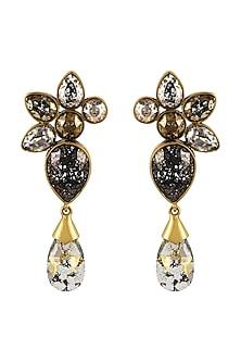 Gold Finish Patina Earrings With Swarovski Crystals by Tarun Tahiliani X Confluence