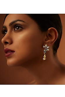 Gold Finish Patina Earrings With Swarovski Crystals by Tarun Tahiliani X Confluence