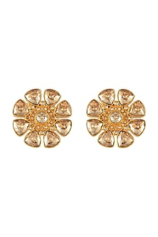 Gold Finish Floral Stud Earrings With Swarovski Crystals by Tarun Tahiliani X Confluence