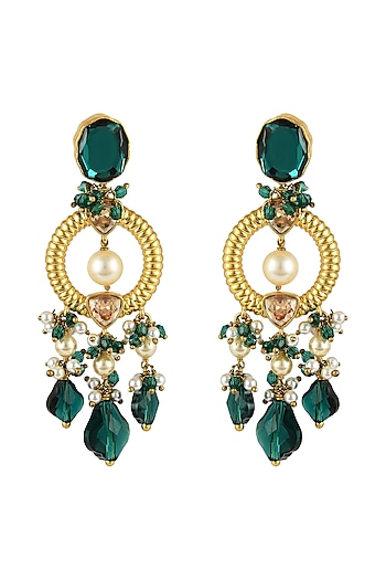Gold Finish Emerald Heritage Earrings With Swarovski Crystals by Tarun Tahiliani X Confluence