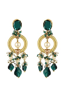 Gold Finish Emerald Heritage Earrings With Swarovski Crystals by Tarun Tahiliani X Confluence-SHOP BY STYLE