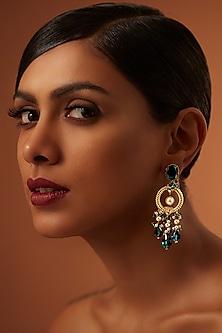 Gold Finish Emerald Heritage Earrings With Swarovski Crystals by Tarun Tahiliani X Confluence