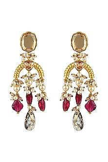 Gold Finish Heritage Maroon Stone Earrings by Tarun Tahiliani X Swarovski