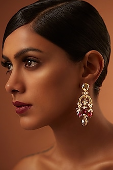 Gold Finish Heritage Maroon Stone Earrings With Swarovski Crystals by Tarun Tahiliani X Confluence