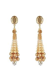 Gold Finish Tassel Earrings With Swarovski Crystals by Tarun Tahiliani X Confluence