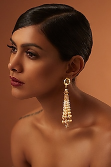Gold Finish Tassel Earrings With Swarovski Crystals by Tarun Tahiliani X Confluence