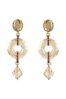Gold Finish Disk Earrings With Swarovski Crystals by Tarun Tahiliani X Confluence