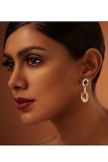 Gold Finish Patina & Blush Earrings With Swarovski Crystals by Tarun Tahiliani X Confluence