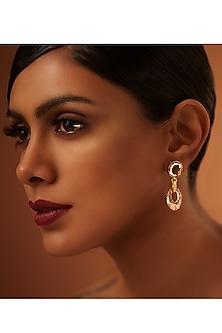 Gold Finish Patina & Blush Earrings With Swarovski Crystals by Tarun Tahiliani X Confluence