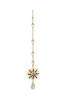 Gold Finish Floral Maang Tikka With Swarovski Crystals by Tarun Tahiliani X Confluence-JEWELLERY ON DISCOUNT