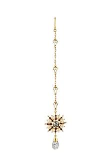 Gold Finish Floral Maang Tikka With Swarovski Crystals by Tarun Tahiliani X Confluence