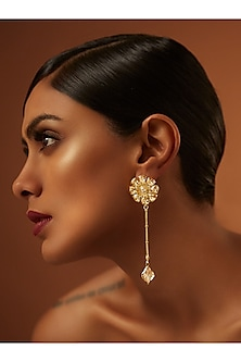 Gold Finish Floral Drop With Swarovski Crystals by Tarun Tahiliani X Confluence