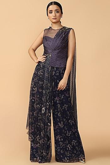 Blue Asymmetric Embroidered Jumpsuit by Tarun Tahiliani