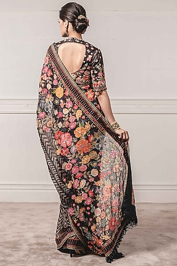 Black Embroidered Saree Set by Tarun Tahiliani