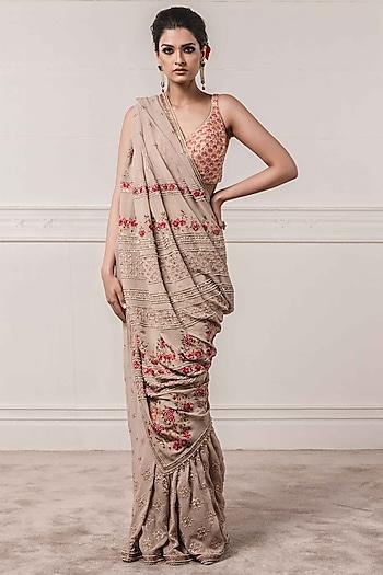 Grey Embroidered Saree Set by Tarun Tahiliani